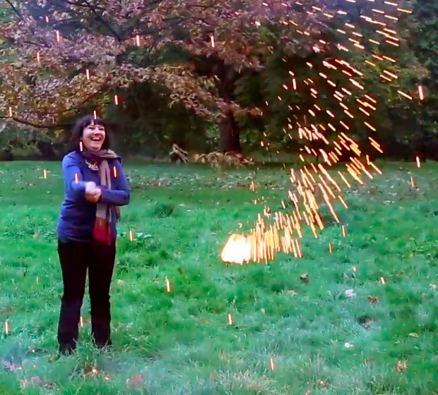 Hannah Robinson making a homemade firework