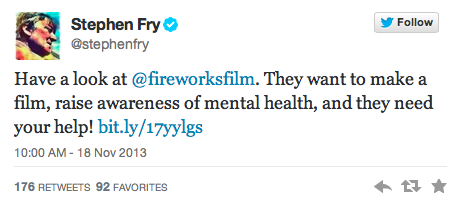 stephen fry tweets about fireworks film