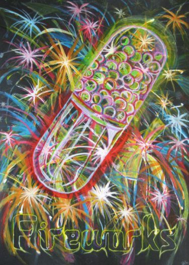 Fireworks by Hew Locke - available as an A3 fine art print